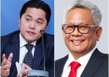 Menteri BUMN Erick Thohir (kiri) & Direktur Utaman PTPN III Holding (Persero) Mohammad Abdul Ghani (kanan)
